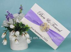 EA416 -- foldable box wedding invitation with puple ribbon and buckle