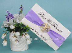 EA416 -- foldable box wedding invitation with puple ribbon and buckle
