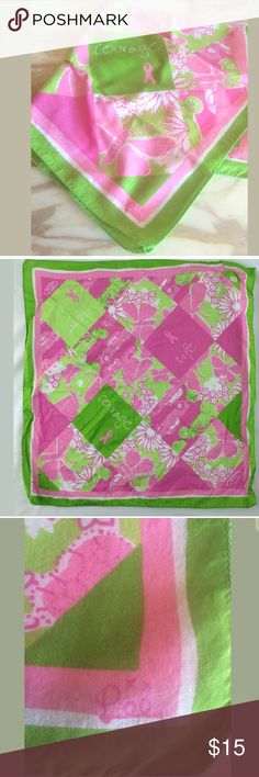 "NWOT Lilly Pulitzer bandana  scarf Lilly pink and green Breast cancer awareness bandana scarf.  Cotton 21"" square Lilly Pulitzer Accessories Scarves & Wraps"