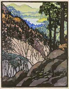 Frances Gearhart Woodblock Print -  Glimpse of Big Bear Lake (Autumn Brocade)