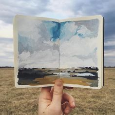 Painting combine with landscape photo Watercolor Sketchbook, Art Sketchbook, Watercolor Illustration, Watercolor Paintings, Watercolour, Art Journal Inspiration, Art Inspo, Inspiration Artistique, Guache