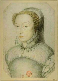CLOUET François - French (Tours circa 1515-1572 Paris) - 1559 or after Catherine de Medici widowed  / In 1559, her daughter Elisabeth  married Felipe II of Spain  to end prolonged wars with the Habsburgs. The lance of comte Gabriel de Montgomery pierced the eye slit of Henri's salet to cause a fatal head injury. It is often said that the famous seer Michel de Nostredame (Nostradamus) foresaw the incident.
