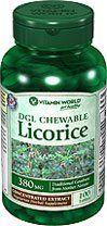 Vitamin World DGL Chewable Licorice, 380mg, 100 Tablets Vitamin World, http://www.amazon.com/dp/B00B91YGZE/ref=cm_sw_r_pi_dp_bs1qtb1Y4Z754RD5