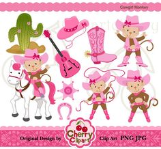 Cowgirl Monkey Digital Clipart Set forPersonal by Cherryclipart, $4.50