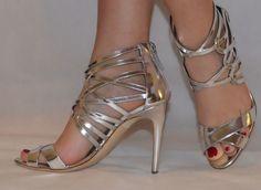a03edd32a71 Rupert Sanderson Elica Silver Laminate High Heel Cage Sandals UK5 EU38  Caged Sandals