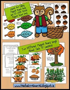 10 Fall Songs with Story Images - Great for Magnet Boards or Felt Boards! from Teach Easy Resources on TeachersNotebook.com (40 pages)