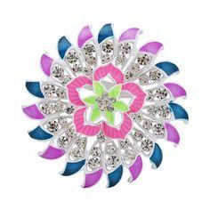 Fashion Women Party Latest Colorful Flower Rhinestone Enamel Wedding Brooch
