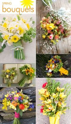 Spring bouquets using wildflowers for a casual wedding. Features flowers ranging from sunflowers to daffodils, #casualweddingflowers #casualbouquets