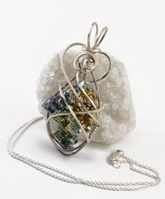 Blue bismuth crystal necklace  Argentium by FeathersnThingz