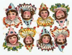 Victorian Die Cuts Paper Doll Clown Children Scraps