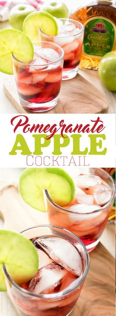 Pomegranate Apple Cocktail ~ slightly sweet, tart, and bursting with fruity flavor...Featuring Apple Crown, this cocktail is a perfect make-ahead cocktail for entertaining, especially during the fall and holidays.