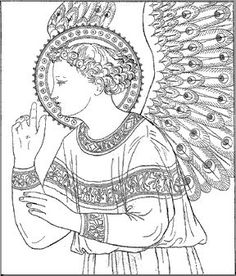 adult coloring printout: of the angel of peace Religious Pictures, Religious Icons, Religious Art, Fra Angelico, Entertaining Angels, Scroll Pattern, Mystique, Painting Lessons, People Art
