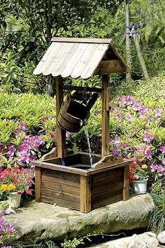 Wishing Well Wood Outdoor Water Fountain Pump Home Patio Yard ...