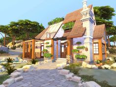 The Sims Resource: Cozy Forest Cottage by hoanglap Sims 4 House Plans, Sims 4 House Building, Sims Love, Sims 3, Cottage House Plans, Cottage Homes, Easy Minecraft Houses, Sims 4 House Design, The Sims 4 Lots