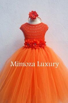 Orange Flower girl dress orange tutu dress by MimozaLuxury on Etsy