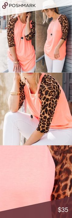 Coral Chiffon Top Coral chiffon top with leopard quarter length sleeves. Made with love in the USA. 94% polyester. 6% Spandex & Quality material. Tops