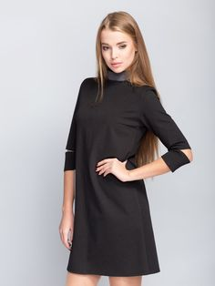 **COLOR:** black  **SIZES:** 38, 40, 42  **PLEASE LET US KNOW ABOUT COLOUR AND SIZE IN MESSAGE**  Dress trapezoidal cut, has high extensibility. Model with stand collar (4cm) and the medium...