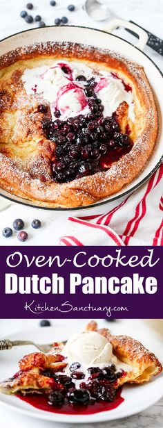 Oven Cooked Dutch Pancake with Easy Blueberry Sauce - An impressive looking (and tasting!) giant pancake that serves the whole family.