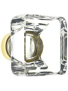 Over-Sized Square Crystal Cabinet Knob With Solid Brass Base | House of Antique Hardware
