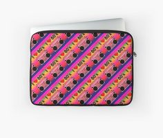 'Colorful Boombox Retro Pattern' Laptop Sleeve by HavenDesign Retro Pattern, Boombox, Back To Black, Laptop Sleeves, Colorful Backgrounds, I Shop, Plush, Corner, Stuff To Buy