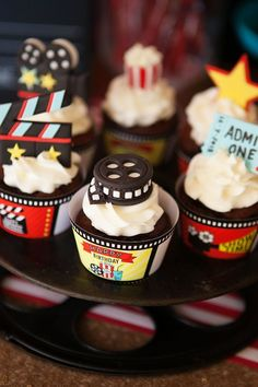 Cupcakes at a movie hollywood red carpet birthday party! SO CUTE!!!