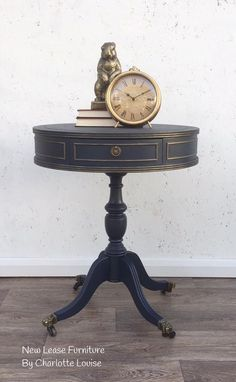 Midnight Blue with bronze accents by Fusion Mineral Paint. Gold Leaf Furniture, Hand Painted Furniture, Metal Furniture, Paint Furniture, Repurposed Furniture, Furniture Makeover, Furniture Refinishing, Painted Coffee Tables, Painted Side Tables