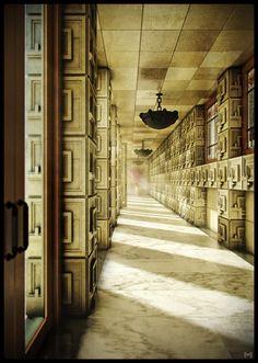 Frank Lloyd Wright's Ennis House corridor (3D render) #BladeRunner