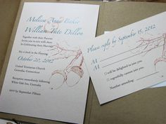 Possibility - Fall Wedding Invitation Custom Recycled Pocketfold Acorns Rust Brown Green Oak Tree Autumn Leaves. $4.90, via Etsy.