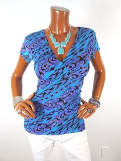 INC Womens Top M SEXY Gathered Summer Blouse Casual Shirt Blue Purple Black  #INCInternationalConcepts #Blouse #Casual