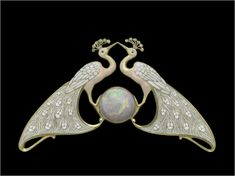 Double peacock necklace, about 1900. By: Eugene Feuillâtre, 1870–1916. Gold, enamel, diamond, and opal. | Museum of Fine Arts, Boston