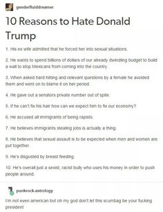 "10 reasons to ""hate"" Donald Trump. #5 is dumb, how about Mike Pence is his fucking vp"