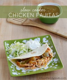 Slow Cooker Chicken Fajitas - easy to make paleo if needed.