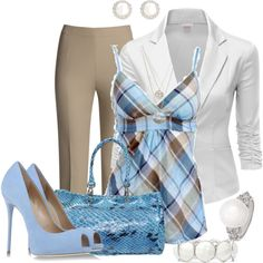 """Plaid Camisole Work Set"" by coromitas on Polyvore"