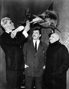 Ted Cassidy, John Astin, and Jackie Coogan in The Addams Family.