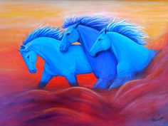 running horses, horse art, horses, western artwork, colorful horse art, horse painting, horse artwork, Nancy Quiaoit, NancyQart