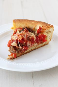 Chicago Deep Dish Pizza. Easily my most favorite recipe with a thick, flakey crust and toppings galore!