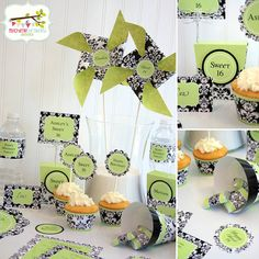 Printable Black Damask with Lime Green Party by mbradleydesigns, $6.95