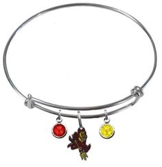 CustomCharms Alabama State Expandable Wire Charm Bracelet Bangle w//Yellow Color Crystals