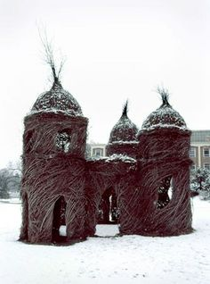 I was fortunate enough to walk through Paradise Gate before the college removed it due to fire hazard. This structure has inspired me to crate its likeness in my yard with willows.  Patrick Dougherty - Paradise Gate