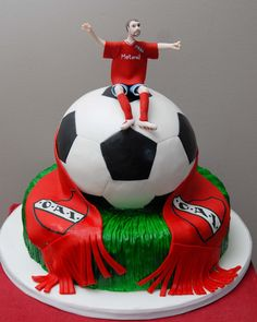 This fun groom's soccer cake was for an Argentine CAI fan