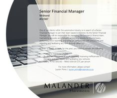 Hiring: Senior Financial Manager Company Finance, Pre And Post, Find A Job, Automotive Industry, Accounting, Management