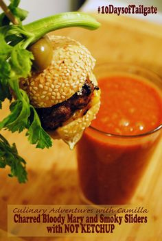 Charred Bloody Mary with Smoky Sliders for #10DaysofTailgate