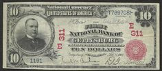 u.s. ten dollar bill | The 1903 ten dollar bill national currency red seal note was issued ...