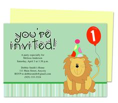 Monarch 1st Birthday Printable Invitations Templates. Edits easily to your own details with Word, OpenOffice, Publisher, Apple iWork Pages