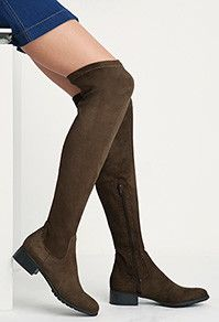 Olive Green Over-the-Knee Boots - Forever 21