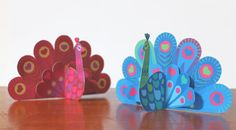 Valentine Peacock paper ornaments printable by Happythought