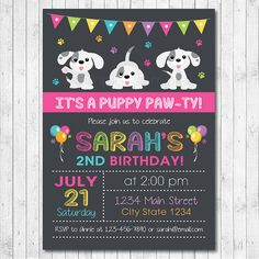 Puppy Birthday Invitation, Puppy Invite, Puppy Birthday, Puppies Invitation, Little Dog Invitation, Little Dog Invite, Chalkboard, Printable by funkymushrooms on Etsy https://www.etsy.com/listing/170999316/puppy-birthday-invitation-puppy-invite