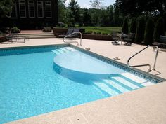 Clayton & Lambert vinyl liner pool with custom sundeck and steps.