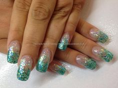 Nail Technician:Elaine Moore Description: Aqua glitter encapsulated in acrylic  @ www.eyecandynails.co.uk