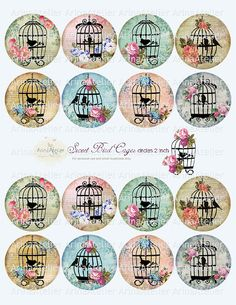 Sweet Bird Cages Circle micro slides 2 by arinaatelierDigital